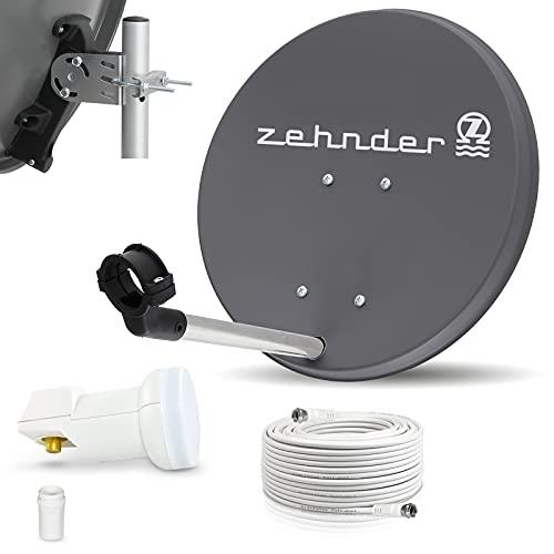 Digitale Camping Sat Anlage Spiegel 40 cm Single LNB 0,1 dB + Koaxialkabel 10m Kabel Balkon Caravan Mobil Schüssel Antenne für HDTV HD Sky 3D 4K geeignet (anthrazit)