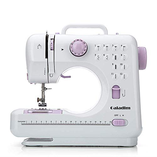 Sewing Machine by Galadim (12 Stitches, 2 Speeds, LED Sewing Light, Foot Pedal) - Electric Overlock Sewing Machines - Small Household Sewing Handheld Tool GD-015-AJ