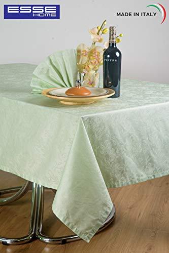 Esse Home - tafelkleed - tafelkleed - vierkant voor 8 personen - Jacquard Puro katoen - Made in Italy - Iris 598 (170X170, Salvia)