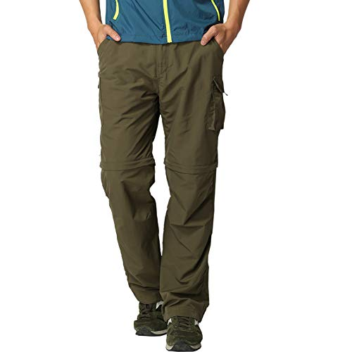 LEOKKARR Pants for Men Outdoor Hiking Quick-Dry, Convert Lightweight UV 50+ Fishing Travel Camping Pants (Green, 42W x 32L)