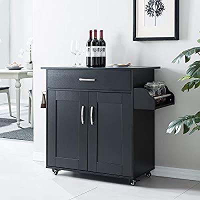 Cozy Castle Kitchen Island on Wheels Kitchen Cart Trolley with Storage, Drawers, Cabinet, Towel Rack and Wood Top Kitchen Cart for Home Hotel Kitchen Dinning Room by