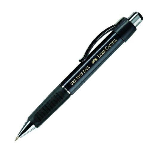 Faber-Castell 140733 - balpen GRIP PLUS BALL, vulling: M, schachtkleur: metallic zwart