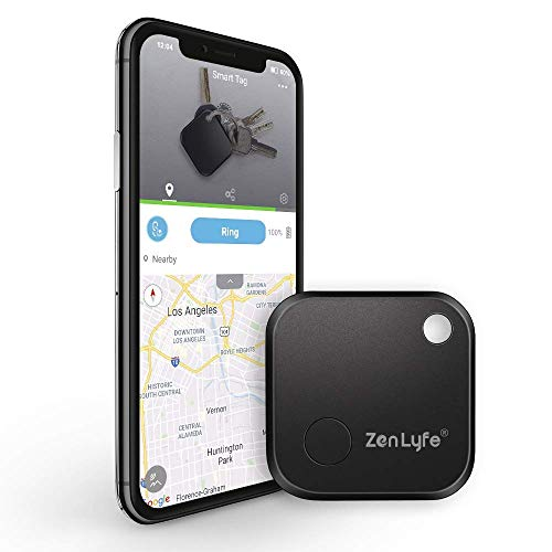 Key Finder, Zen Lyfe/SwiftFinder Classic Item Finder Locator Bluetooth Tracker Device for Car Key/Wallets/Remotes/Luggage/Gadgets/Bike/Pets, APP Control with 1 Year Replaceable Battery (Black)