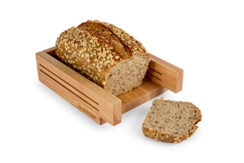 Bread Slicers For Homemade Bread |Premium Rubber Wood | 6-in-1 Multi-Purpose: Knife Holder, Chopping Board, Serving Tray, Bagel Slicer | Bonus Non-Slip Mat| Best for Bread Loaf, Cake, Picnic