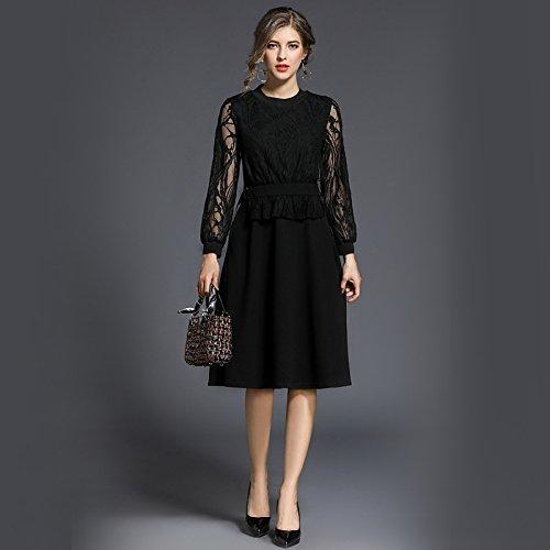 kekafu Frauen gehen einfach eine Linie Etuikleid, solide runden Ausschnitt Oben Knie Langarm Baumwolle Acryl Sommer hohe Taille Micro-elastischen Opak, L, Fuchsia