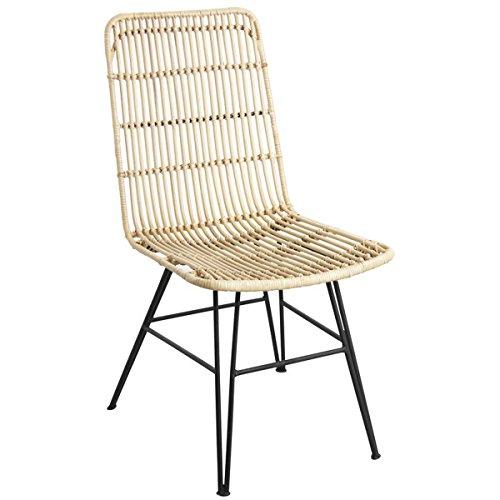 PEGANE Chaise en rotin Naturel et métal Noir - Dim : 46 x 58 x 91 x H 44 cm