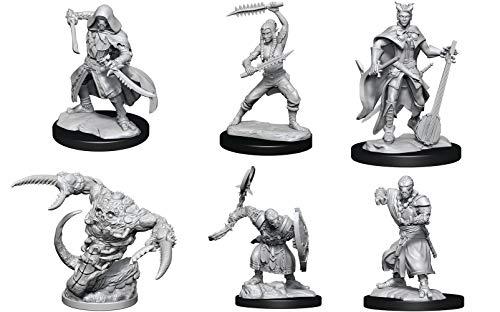 WizKid D&D Nolzur's Miniatures W14: Wildhunt Shifter, Warforged Rogue, Warforged Monk, Tiefling Bardwarforged Barbarian, Tiefling Bard, Tsucora Quori & Hashalaq Quori