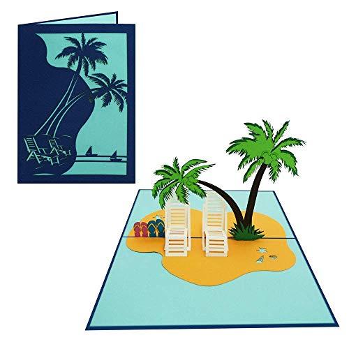 Pop Up Karte 3D Palmen Strandurlaub Gutschein Urlaub Meer See Strand Geburtstagskarte Glückwunschkarte Liebe Valentinstag Freizeit Ausflug Flitterwochen - Strandurlaub 024