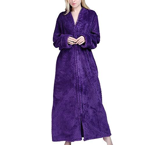 Huanhog Robe Langarm Voll Zipper weiche Lange Nightgown Pyjamas Damen Bekleidung Für...