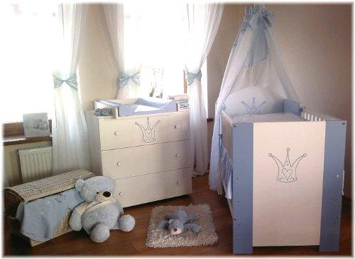Klups Babykrone Chambre pour bébé incluant lit pour bébé, commode avec table à langer, sommier à lattes, matelas, et parure de lit Bleu 12 pièces