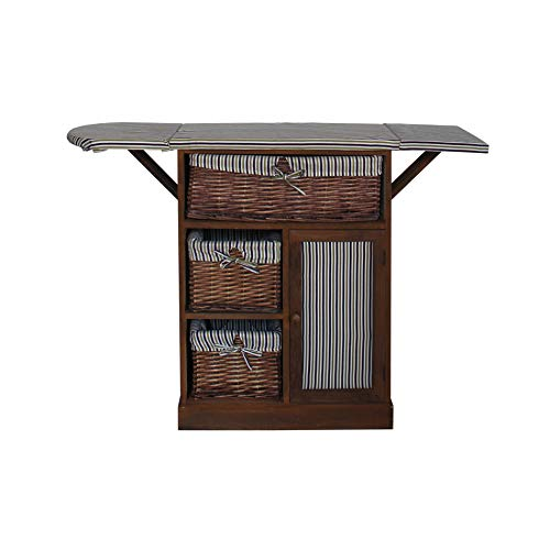 baratos y buenos Mueble móvil Rebecca para costura y manualidades, 3 cestas de mimbre, 1 puerta, madera de paulonia,… calidad