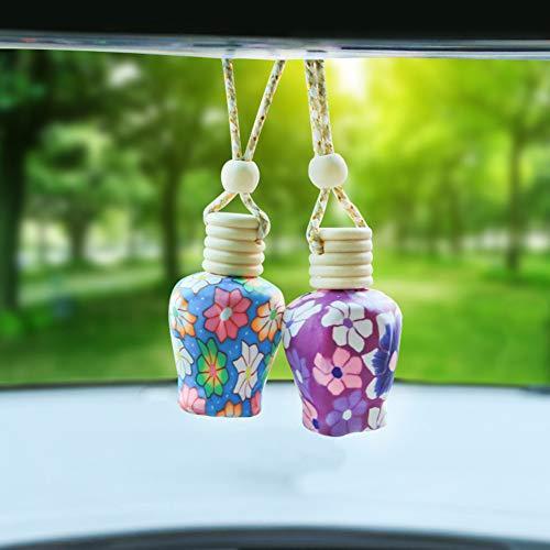 Newrys Rear View Mirror Car Charm Ornament, Pendant Car Charm, Colorful Polymer Clay Empty Perfume Essential Oil Bottle Car Pendant Car Interior Decor Random Color