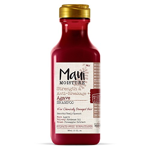 Maui Moisture Strength & Anti-Breakage + Agave Nectar Shampoo,13 Ounce, Rich and Creamy Sulfate Free Shampoo Gentle Enough For Fragile, Damaged Hair, Helps Detangle and Resist Breakage
