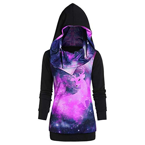 Auifor Women Sweatshirts Casual New Long Sleeve Hooded Unique Night Sky Christmas Elk Print Jumper Winter Xmas Tops Blouse(Purple,XXXXXL)