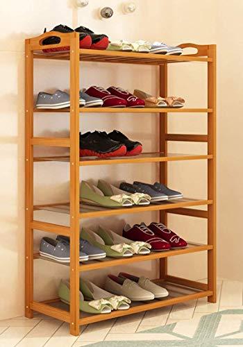 Zapatero de Madera Maciza Caja de Zapatos Soporte de Flores Almacenamiento Estante a Prueba de Polvo 6 Niveles Ensamblaje Dormitorio Vestíbulo Sala de Estar Oficina Garaje Diseño Que Ahorra Espacio,