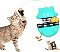 CestMall 【セール】猫おもちゃ ターンテーブル 人気 自動回転式 トレーニング練習用 猫のおもちゃ 猫インタラクティブ玩具 猫遊び 猫じゃらし 猫・子犬おやつボール 餌やり玩具 ストレス解消 運動不足対策 知育 面白い 早食い止め 不在でも安心 安全無毒な素材 ペット多機能おもちゃ