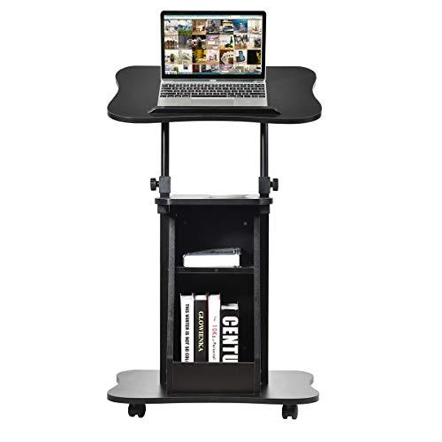 DREAMADE Laptoptisch mit 4 Rollen, Mobile Podium höhenverstellbar & schwenkbar, Multifunktion Arbeitstisch mit 2 Ablagefächern für Business-Büro Zuhause Podium, schwarz