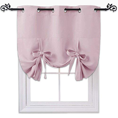 NICETOWN Blackout Valances Window Shades - Blackout Short Roman Tie Up Balloon Shades Curtain for Kitchen/Bathroom/Nursery Window (Lavender/Baby Pink, Grommet Top Panel, 46 inches W x 63 inches L)