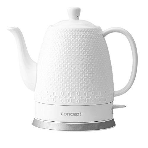 CONCEPT Hausgeräte, Wasserkocher Keramikkessel mit originalem und modernem Design, RK0070, 1.5L, weiß