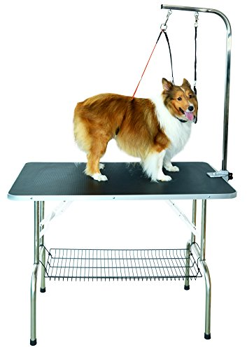 SHELANDY Stainless Steel pet Dog Grooming talbe with arm and Two Loops (Small 80 * 50cm)