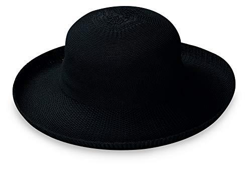 Wallaroo Hat Company Women's Victoria Sun Hat – Ultra Lightweight, Packable, Broad Brim, Modern Style, Designed in Australia, Black