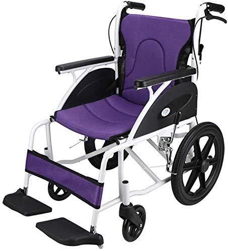 HYY-YY Silla de ruedas pequeña con respaldo plegable de aluminio, ligero para cuatro estaciones universal/cojín de asiento puede ser equipado con reposacabezas alto, adecuado para discapacitados, E