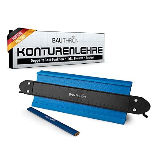BAUTHRON® Konturenlehre mit Feststeller 25cm groß/Messlehre mit doppelter Lock-Funktion/Mess- & Planwerkzeuge als Schablone zum markieren von Fliesen & Laminat - Geschenke für Männer +Bleistift