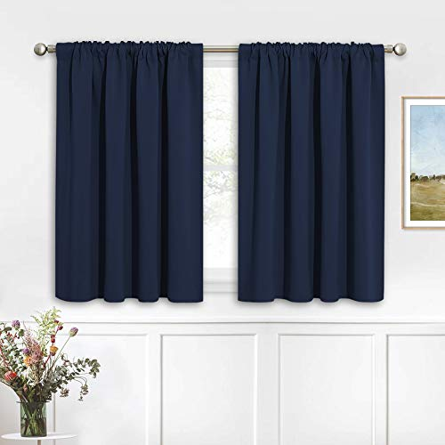 RYB HOME Blackout Curtains Small Window Decor Light Block Thermal Insulated Drapes for Bedroom Kitchen Cabinet Basement RV Curtains, W 42 x L 36 inch, Navy Blue, 2 Panels