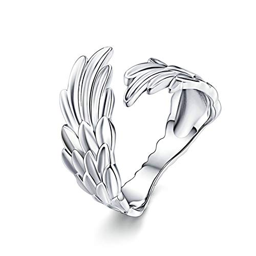 URBAN SHe° 925 Sterling Silver Guardian Angel Wing Ring love support Protection Wrap up Feather Silver Ring Band