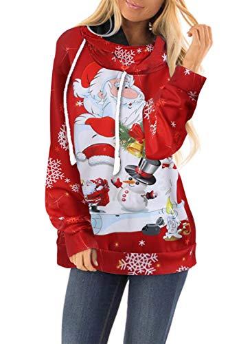Dokotoo Femmes Automne Hiver NoëL Casual Mode Sweater PèRe NoëL Et Bonhomme De Neige Cartoon Imprimer Cordon De Serrage…