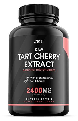 Raw Tart Cherry Extrakt Kapseln – 2400 mg – Montmorency Tart Cherries – Nicht-GVO, glutenfrei, 90 vegane Kapseln (1 Packung) (1 Pack)