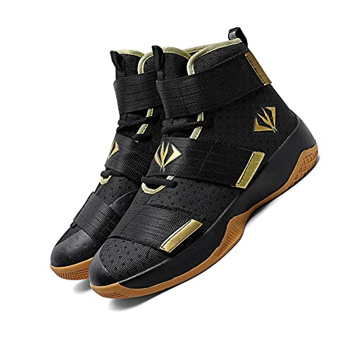 NCNDB Mens Basketball Shoes High Top Sports Shoes for Running Women Non Slip Outdoor Sneakers Black Gold 9.5/8 US