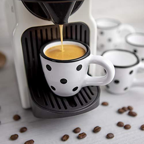 City to Cottage® - Espressotassen Set   Weiß und Schwarz   Polka Dots   Handgemacht   Keramik Geschirr Espressotassen 4er Set   Mokkatassen Set