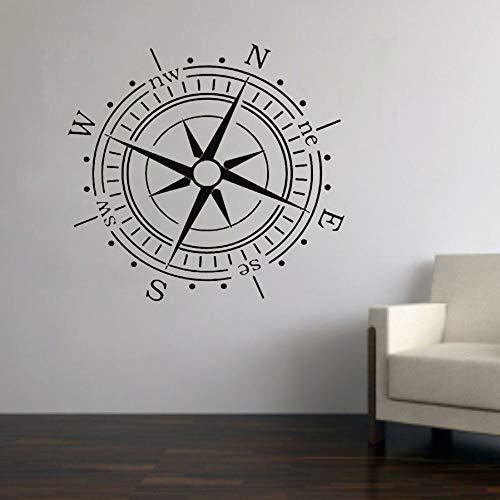 Brújula pegatinas de pared arte tatuajes de pared decoración del hogar sala de estar decoración costera patrón de brújula autoadhesivo