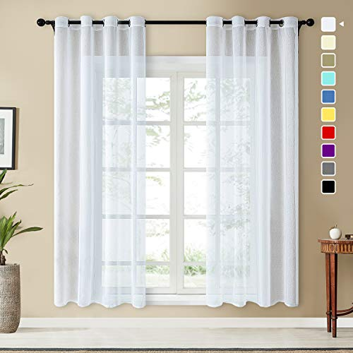 Topfinel Voile Vorhänge Leinenstruktur mit Ösen Durchsichtig Einfarbig für Fenster Wohnzimmer Schlafzimmer Moderne und Elegante Gardine 2er Set je 225x140cm (HxB) Weiß