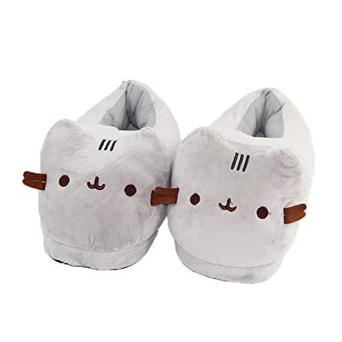 SHOESESTA Hausschuhe Gäste Cartoon Katze Plüsch Pantoffeln Damen Frauen Winter Zuhause rutschfeste Wärme Freizeit Tiere Bodenschuhe-Kürbiskatze 1102_ durchschnittliche Größe 35-42 (28cm)