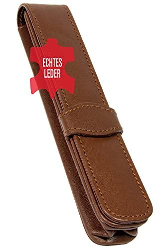 ONLINE Lederetui Braun für einen Stift, Kugelschreiber-Etui, für Schreibgeräte aller Marken, Echtleder, verschiedene Farben, Geschenkidee Füller Leder-Etui, Maße: (LxBxH) 14,5 x 2,5 x 2,5 cm