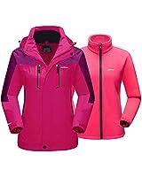 Snow Jackets for Women Waterproof Jacket Hooded 3 in 1 Jacket Snowboard Jacket Ski Jacket Winter Jackets for Women Rain Jacket for Women