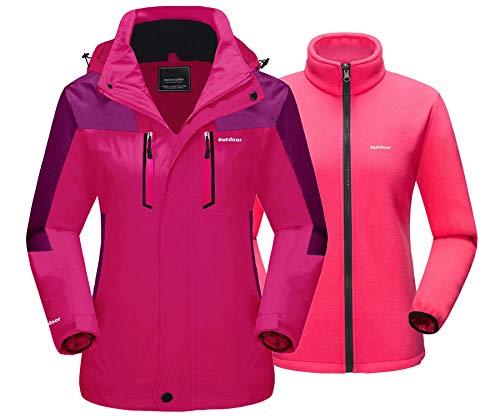 MAGCOMSEN Damen 3-in-1 Winter-Skijacke mit Abnehmbarer Kapuze, wasserabweisend, Fleecefutter Snowboardjacke - Pink - Groß