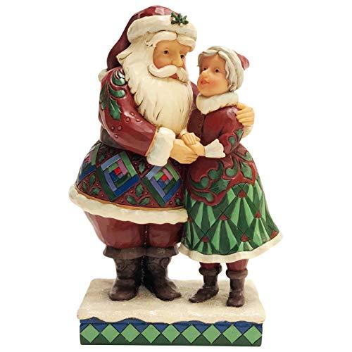 Enesco Jim Shore Heartwood Creek Santa and Mrs. Claus Figurine, 8.1 Inch, Multicolor
