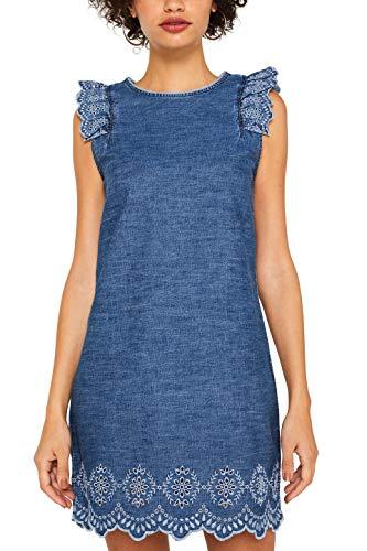 edc by ESPRIT Damen 079Cc1E002 Kleid, Blau (Blue Medium Wash 902), Small (Herstellergröße: S)