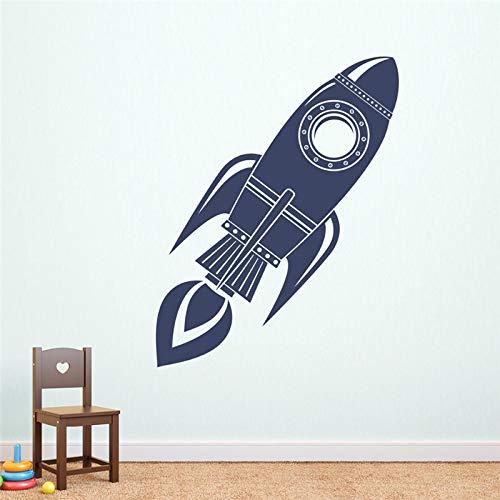 JXFFF Etiqueta de la Pared del Cohete Silueta Arte Mural niño Dormitorio Ropa de Cama Graffiti Vinilo Espacio Fondo de Pantalla 42 x 121 cm