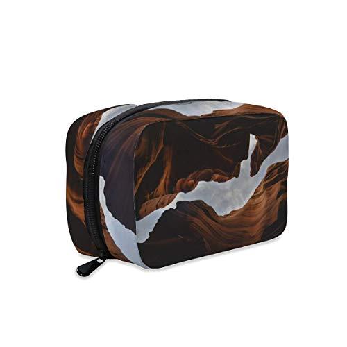 Canyon Gorge Perspective Nature - Bolsa de maquillaje con cremallera, bolsa de viaje para artículos de tocador cosméticos y accesorios cosméticos, bolso grande portátil para mujeres y niñas