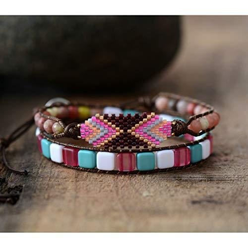 WHFDRHSZ Bangle Armband Vrouwen Kleurrijke Zaad Kralen Kunststof Kralen 2 Strengen Wikkel Armband Vrouwen Tribal