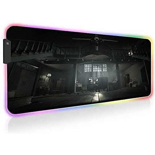 Resident Evil Alfombrillas de ratón RGB para Juegos Alfombrilla de Escritorio Grande para Computadora Alfombrilla de Teclado con Retroiluminación LED 35,43 Pulgadas X 15,74 Pulgadas X 0,16 Pulgadas