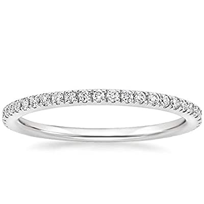 EAMTI 2mm 14K White Gold Plated Wedding Band Cubic Zirconia Full Eternity Stackable Engagement Ring Size 10