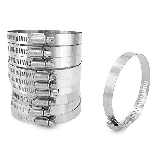 uxcell 65-89mm Clamping Range 304 Stainless Steel American Worm Gear Hose Clamps 10pcs