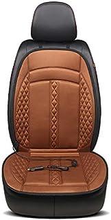 Cojín térmico de felpa caliente de invierno para asiento eléctrico, 12 V, universal, calefacción en un paso y temperatura ajustable, diseño de seguridad (café)