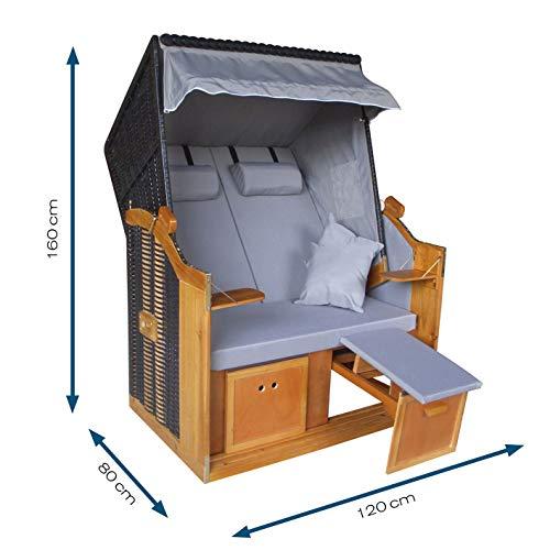 Hoberg 2-Sitzer-Strandkorb (Ostsee), 120x80x160 cm, 5 Liegestufen einstellbar, Rollen mit Feststellbremsen, ausziehbare Fußbänke, 2 Nackenkissen - 7