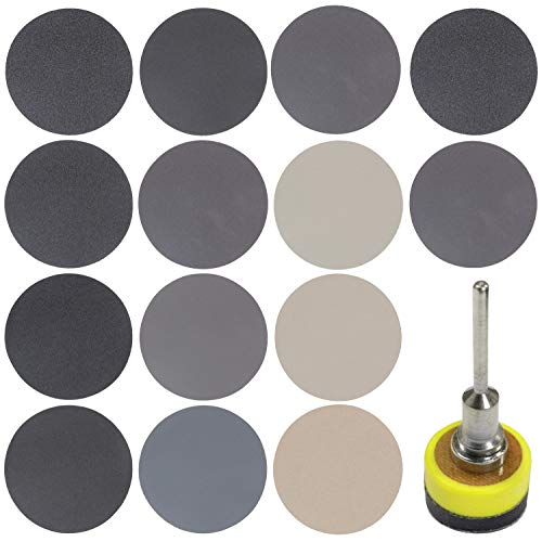 180 PCS 1 Inch Sandpaper, GOH DODD Wet Dry Sander Sheets with Backing Pad and Soft Foam Buffering Pad, 60 to 10000 Grits Grinding Abrasive Sanding Disc for Wood Metal Mirror Jewelry Car